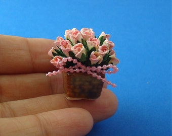 Pink Potted  Roses for Dollhouse 1/12 Scale