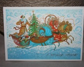 New Year - Vintage Russian Postcard - Winter holiday greeting card