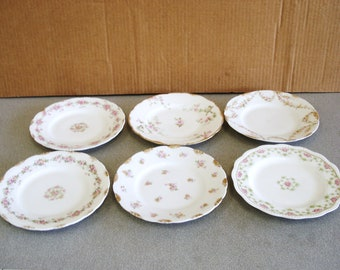 Antique LIMOGES Hand Painted Collection Of 6 Appetizer Or Bread And Butter Plates.