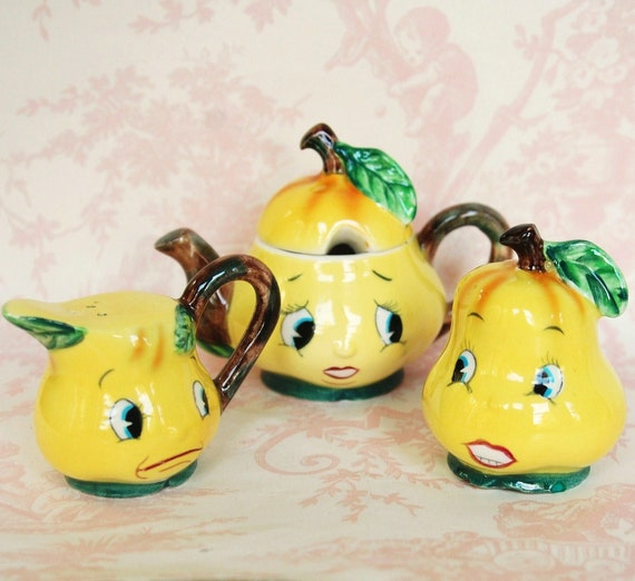 Reserved for Jaymee Vintage 1950s Pear Salt and Pepper Shakers with Sugar Bowl by PY Norcrest