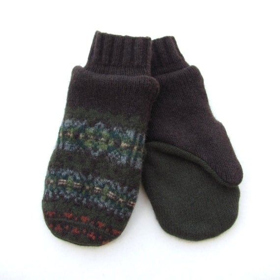 Wool Mittens From Recycled Sweaters Fleece Lined Brown Olive Green and Blue Fair Isle