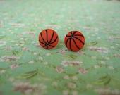 Sport, Basketball Jewelry, Sport Earrings, Basketball Earrings, Earrings, Basketball, Button Earrings, Button