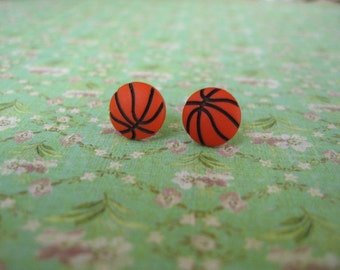 Sport, Basketball Jewelry, Sport Earrings, Basketball Earrings, Earrings, Basketball, Button Earrings, Button