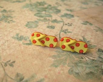 Orange Yellow Sandals Earrings, Sandals Earrings, Orange Yellow Flip Flop Post Earrings