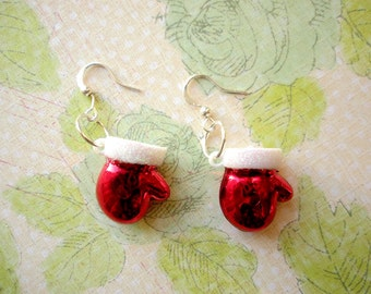 Red Christmas Gloves Earrings, Gloves Jewelry, Red Christmas Earrings