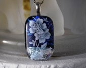 Fused Glass Jewelry - Sapphire Blue and Silver DIchroic Glass White Flower - Handmade - OOAK