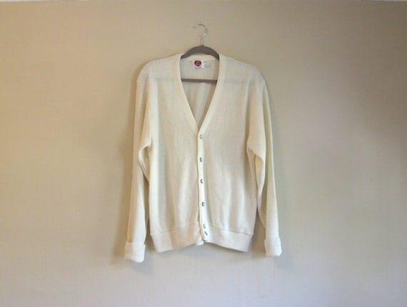 Vintage Cardigan - Golf Sweater - Cream Dream - Grandpa Cardigan Sweater - Light Weight Classic Cardigan