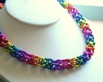 Rainbow Inverted Round Necklace 16 inches