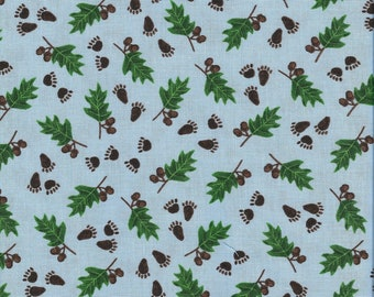 CLEARANCE!  The Three Bears, Windham Fabrics, Blue, Green, Footprints, 1/2 Yard