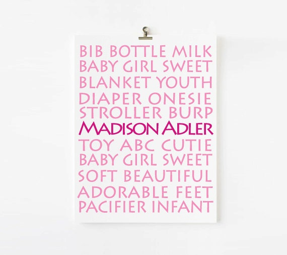 Personalized Baby Wall Art // Nursery Decor //  Nursery Wall art for girls // Choose Your Colors