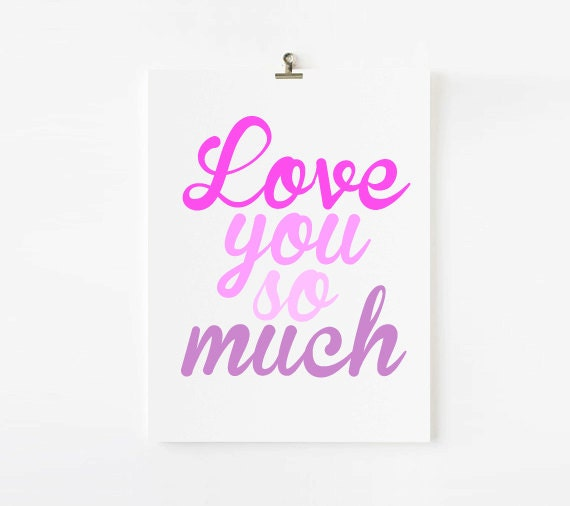 Personalized Kids Wall Art // Love you so much // Choose your colors