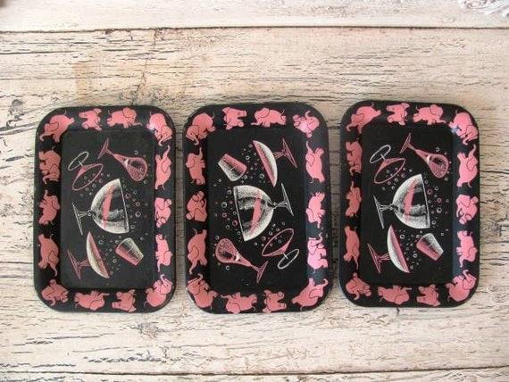 Set of 3 Retro Pink Elephant Tip Trays