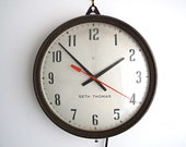 Vintage Wall Clock - Industrial Seth Thomas Hanging Clock, Round Factory Schoolhouse / School House