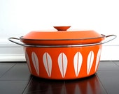 Vintage CathrineHolm Enamel Lotus Pot - Orange Enamelware, Mid Century, Catherineholm