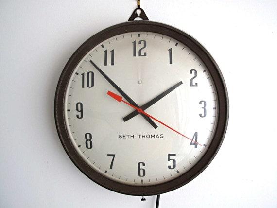 Vintage Wall Clock - Industrial Seth Thomas Hanging Clock, Round Factory Schoolhouse / School House