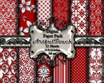 Red Digital Paper: Red Digital Paper Pack, Red Floral Paper, Red Flower Patterns, Red Backgrounds, Red Digital Paper Pack INSTANT DOWNLOAD