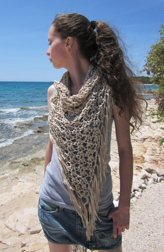 Crochet fringe cowl neck scarf in ecru, cream