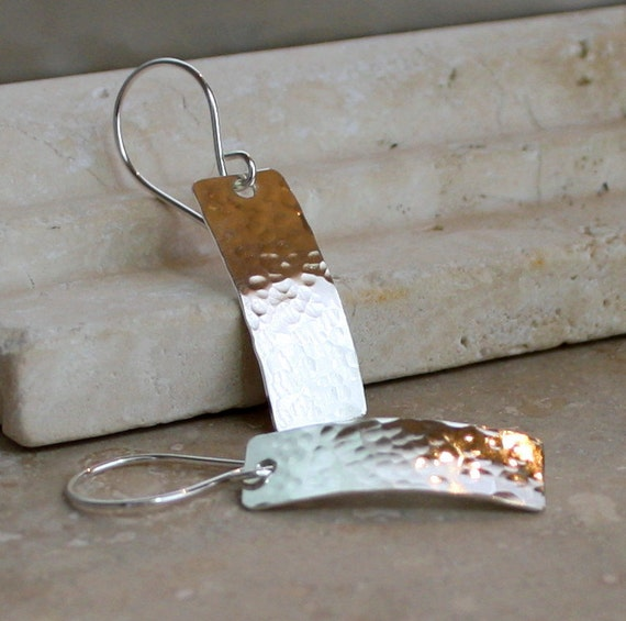 Simple Hammered Sterling Silver Earrings, Rectangle