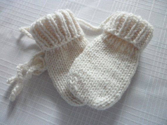 Baby Mittens Thumbless Hand Knit In Sizes Newborn To 18