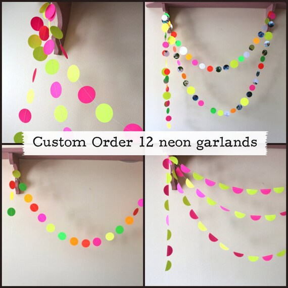 CUSTOM ORDER for LUCY: 12 Neon Garlands. Rocket to the Moon, Candy shop bunting, predictable neon, candy corn