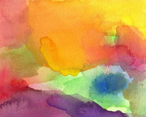 Art Print, Abstract Watercolor, Paradise