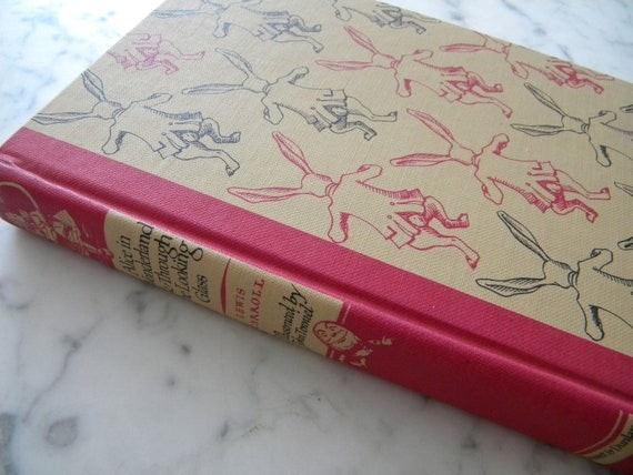 Alice in Wonderland & Through the Looking Glass. 1946. pink rabbit cover.