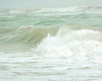 Sea Green Ocean Photograph Calming Coastal Shore Sea Foam Green Wall Decor Seaside print 8x8