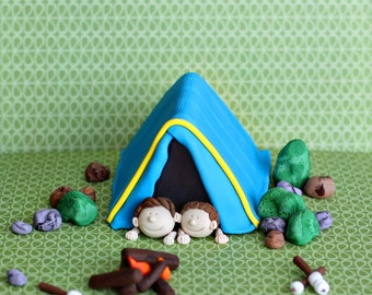 Fondant Camping Tent, S'mores, Fire and More Fondant Cake Decorations Perfect for a Camping Party