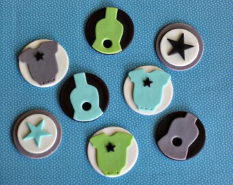 Guitar, Onesie and Star Toppers for Cupcakes, Cookies or Brownies for a Rock Star Party or Baby Shower