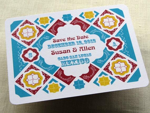 Mexico Save the Date Postcard - Mexican Talavera Tile - Destination Wedding - SAMPLE