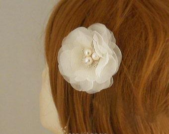 Pure Silk Bridal Hair Flower, Bridal Flower Hair Clip, Brides Hairpiece, Flower, Ivory Hair Flower, Swarovski Crystal. Freshwater Pearl