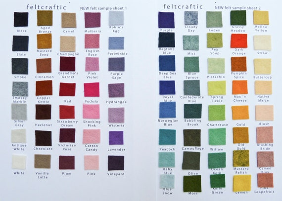 Felt Color Sample Sheet by Feltcraftic