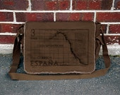 Cotton Canvas Messenger Bag - Old Spanish Map - Brown
