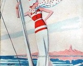 Original French Vintage Poster Ad - Travel  - 1933 - Cover, Art Illustration,  Miroir du Monde