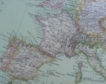 Antique Map of Europe Political - 1891 Large map of Europe