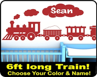 "Personalized LARGE Train Wall Decal for boys nursery - vinyl choo choo train wall decor - 15"" x 72"""