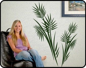 "Large PALM TREE wall decal vinyl - Tropical wall decor, vinyl frond leaves sticker,  40"" x 29"""