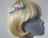 Pale-Blue Bow  Hair Comb- Pale-Blue Bow  Haircomb (Rose Print)