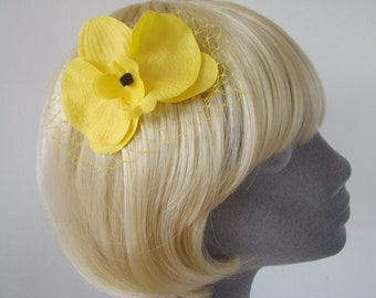 Yellow Flower Hair Comb, Yellow Orchid Hair Comb, Yellow Hair Flower, Yellow Hair Orchid, Yellow Hair Accessory, Yellow Orchid Headpiece