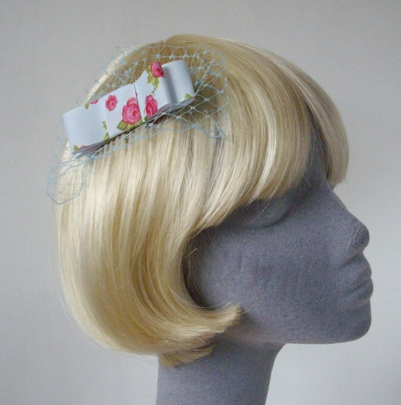 Pale-Blue Bow  Hair Comb- Pale-Blue Bow  Haircomb (Rose Print)