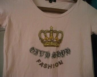 sale- PINK Tshirt , XS, beaded crown detail