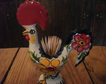 LUCKY ROOSTER, of Barcelos, good luck CHARM, porcelain, handpainted, toothpick holder