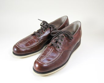 1970s Brown Leather Shoes Crepe Sole Lace Up Oxford Womens 8.5 AAAA Narrow