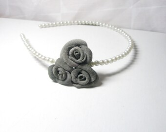Flower headband Classic Beaded Pearls  Band with Grey Suede Flowers  Roses Headband