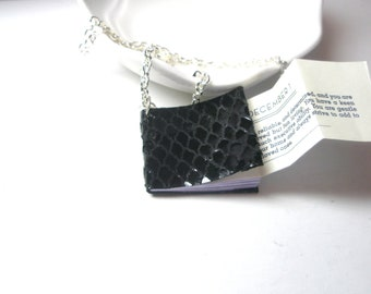 Tiny black leather book necklace , Mini Snake  Book ,12-12-12 ,Fortune -Telling Birthday secret