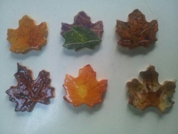 Set of 6 small maple leaf tiles for mosaic or tile backsplash.
