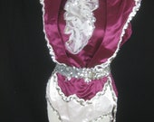 Women's Band Performance 3 Piece Leotard Outfit in Purple with White Trim & Silver Sequins - Tail Coat