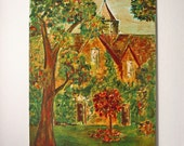 RESERVED - Vintage Autumn Landscape Oil on Canvas Painting
