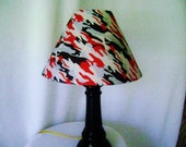 Camouflage lamp shade in silver, black and red hologram