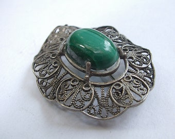 Vintage Sterling Silver Brooch pin, Green Malachite brooch, Antique brooch, 25th anniversary gift, filigree brooch sterling silver pendant